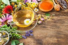 Herbal tea with honey stock image