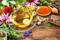 Herbal tea with honey royalty free stock photos
