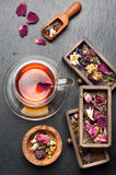 Herbal tea with honey and dried herbs and flowers. top view royalty free stock photography