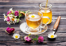 Herbal tea with honey and flowers. Royalty Free Stock Photography