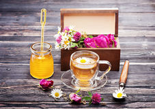 Herbal tea with honey and flowers. Wild herbs and flowers. Royalty Free Stock Photos