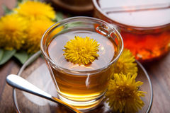 Herbal tea and honey made of dandelion with yellow blossom on wooden table Stock Photo