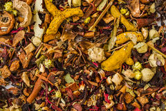 Herbal Tea Ingredients. As texture or  background Royalty Free Stock Photo