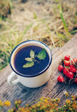 Herbal tea in an iron mug, red rosehip and St. John`s Wort flowers Royalty Free Stock Photo