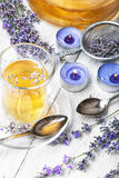 Herbal Tea with lavender. Fragrant herbal tea with flowering lavender sprigs stock photo