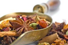 Herbal tea with leaves, fruits and herb. Tisane ingredients. Herbal tea with leaves, fruits and herb on a white background stock photography