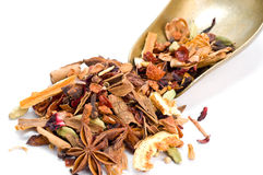 Herbal tea with leaves, fruits and herb. Tisane ingredients. Herbal tea with leaves, fruits and herb on a white background stock photos