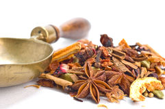 Herbal tea with leaves, fruits and herb. Tisane ingredients. Herbal tea with leaves, fruits and herb on a white background Royalty Free Stock Photos