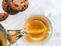 Herbal tea and fresh biscuits royalty free stock image