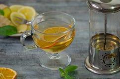 Herbal tea on wooden table. stock photo