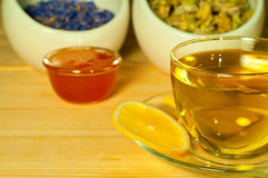 Herbal tea with lemon and honey Stock Images