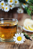 Herbal tea, lemons and herbs in the basket Royalty Free Stock Photography