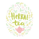 Herbal tea. Lettering and doodles. Royalty Free Stock Photography