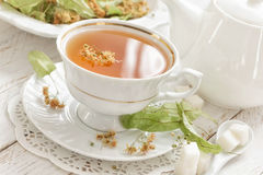 Herbal tea. With linden in a cup Royalty Free Stock Image