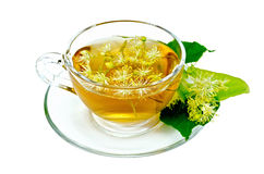 Herbal tea from linden flowers in a cup Stock Photos