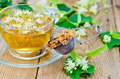 Herbal tea from linden flowers with strainer Stock Images