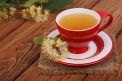 Herbal tea with a linden on a napkin Royalty Free Stock Photography