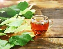 Herbal tea with linden in a transparent mug Stock Photos