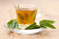 Herbal tea made of stinging nettle on wooden flooring Royalty Free Stock Photo