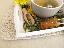 Herbal tea with marigold and cornflower with tea infuser. Ball Royalty Free Stock Photo