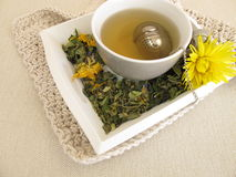 Herbal tea with marigold and cornflower with tea infuser. Ball Royalty Free Stock Image
