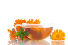 Herbal tea with marigold flowers Stock Images