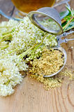 Herbal tea from meadowsweet with strainer and cup Royalty Free Stock Images