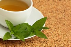 Herbal tea and  mint leaves Royalty Free Stock Images