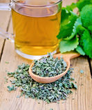 Herbal tea of mint leaves on spoon with mug Stock Images