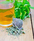 Herbal tea with mint in a mug and strainer Royalty Free Stock Photos