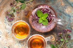 Herbal tea with mint and oregano flowers Stock Image