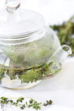 Herbal tea with mint and thyme Royalty Free Stock Images