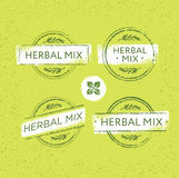 Herbal Tea Mix Creative Vector Stamp Concept On Organic Background. Eco Insignia Label Illustration Royalty Free Stock Photo