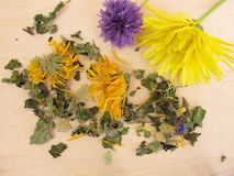 Herbal tea mix with marigold and cornflower. On wooden board Stock Photography