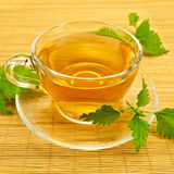Herbal tea with nettles on a bamboo mat Royalty Free Stock Photos