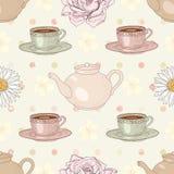 Herbal tea party seamless pattern Royalty Free Stock Photo