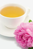 Herbal tea and pink rose Royalty Free Stock Images