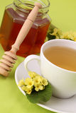 Herbal tea with primroses and honey Royalty Free Stock Photos