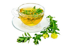 Herbal tea with Rhodiola rosea in a glass cup royalty free stock photo