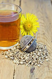 Herbal tea from the root of elecampane in a strain Stock Photos