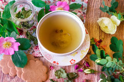 Herbal tea with roses Stock Photo