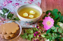 Herbal tea with roses Stock Photos