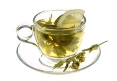 Herbal tea, sage leaves and lemon slice isolated on white background Stock Images