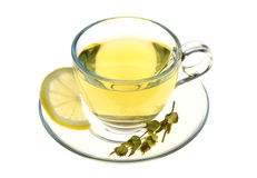 Herbal tea, sage leaves and lemon slice isolated on white background Royalty Free Stock Images