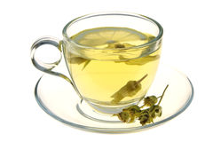 Herbal tea, sage leaves and lemon slice isolated on white background Stock Image