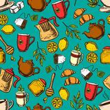 Herbal tea seamless pattern background Royalty Free Stock Photo