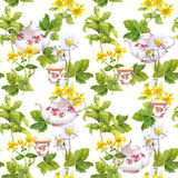 Herbal tea. Seamless pattern: herbs chamomile, mint, teapot, teacup. Watercolor Royalty Free Stock Photography