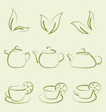 Herbal tea, set cups and teapots Royalty Free Stock Photos