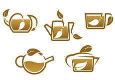 Herbal tea symbols and icons Royalty Free Stock Image
