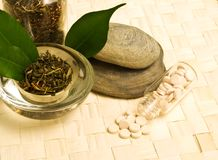 Herbal tea and tablets. Of the bark, leaves and pebbles stock images